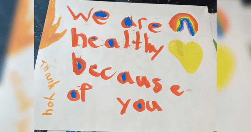 Kids are making cards to thank doctors, nurses, and others on the front lines fighting COVID-19